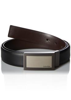Calvin Klein Men's Plaque Buckle 32mm Reversible Belt black/Brown