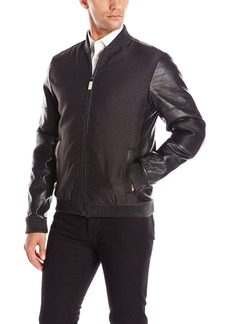 Calvin Klein Men's Premium Leather Mixed Media Bomber Jacket