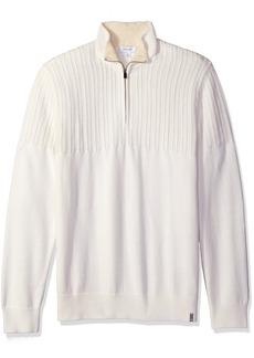 Calvin Klein Men's Quarter Zip Boucle Cable Mock Neck Sweater  LARGE