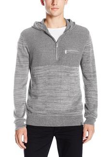Calvin Klein Men's Quarter Zip Hooded Mixed Guage Sweater