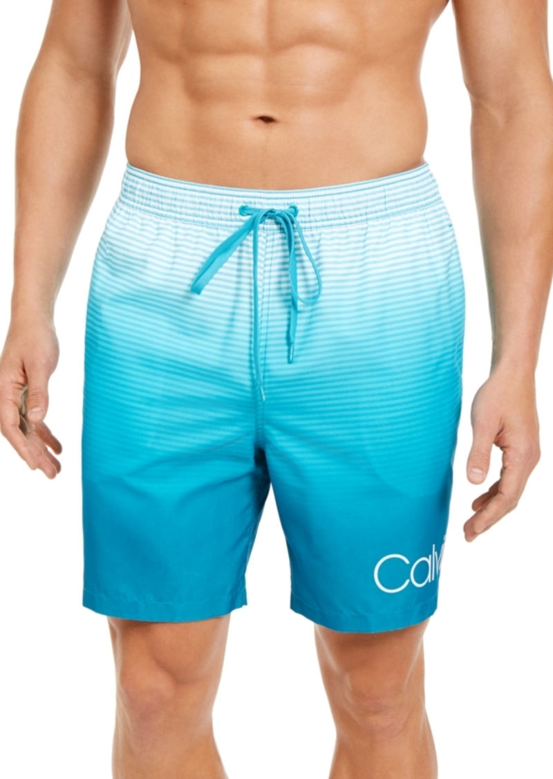 "Calvin Klein Men's Quick-Dry Uv 50+ Ombre Stripe 18"" Board Shorts"