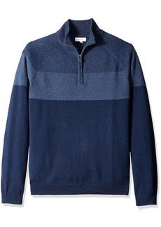 Calvin Klein Men's Raglan Color Block Quarter Zip Sweater