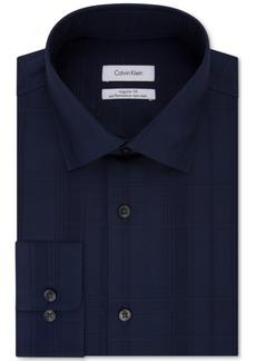 Calvin Klein Men's Regular Fit Non-Iron Performance Navy Check Dress Shirt