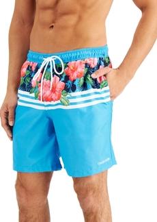 Calvin Klein Men's Regular-Fit Quick-Dry Upf 50+ Floral Stripe Swim Trunks