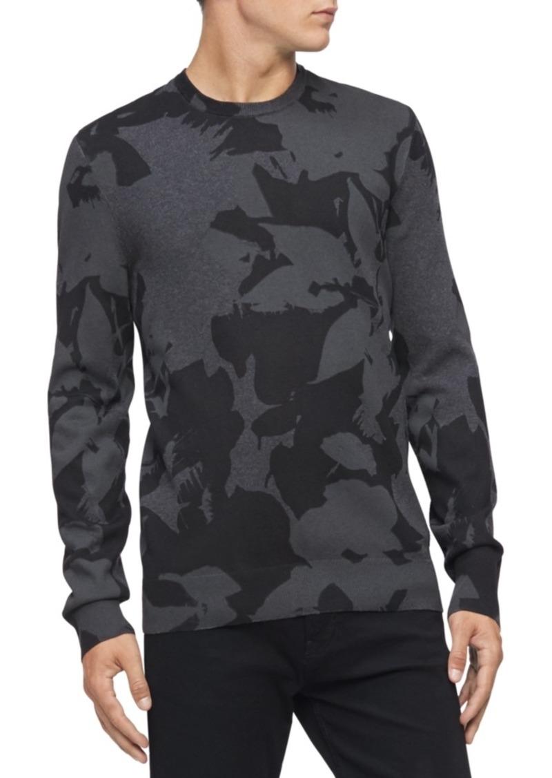 Calvin Klein Men's Regular-Fit Textured Floral Jacquard Sweater