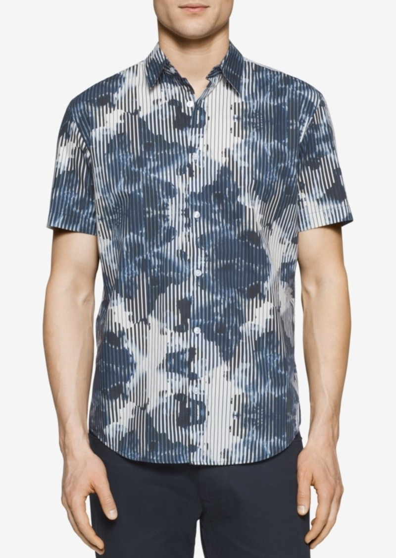 Calvin Klein Men's Reverse Print Striped Short-Sleeve Shirt