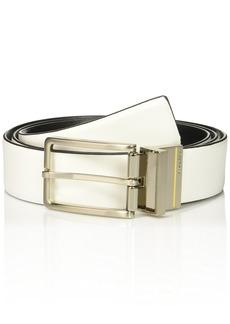 Calvin Klein Men's Calvin Klein 35mm Reversible Smooth Leather To Self Belt Powder White/black Brushed Nickel + Lemon