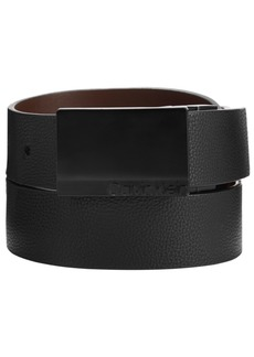 Calvin Klein Men's Reversible Pebble Leather Plaque Belt