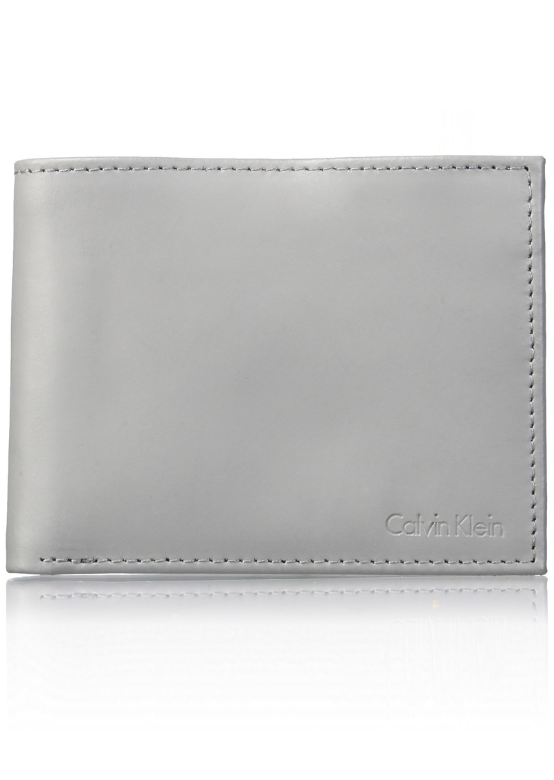 Calvin Klein Men's RFID Blocking Leather Bifold Wallet Cool Gray
