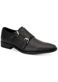 Calvin Klein Men's Robbie Tumbled Leather Monk-Strap Loafers Men's Shoes