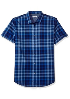 Calvin Klein Men's Short Sleeve Woven Button Down Shirt Surf The Web S