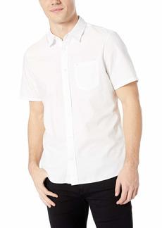 Calvin Klein Men's Short Sleeve Button Down Solid Shirt
