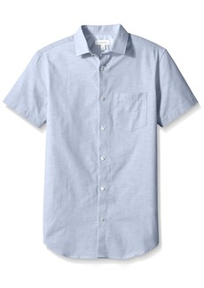 Calvin Klein Men's Short Sleeve Button Down Solid Shirt  2X-Large