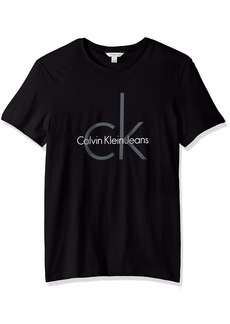 Calvin Klein Men's Short Sleeve Classic Ck Logo Crew Neck T-Shirt BLACK