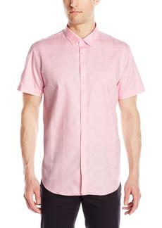 Calvin Klein Men's Short-Sleeve Woven Button Down Print Shirt  Medium
