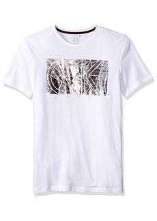 Calvin Klein Men's Short Sleeve Foil Printed CK Logo Crew Neck T-Shirt