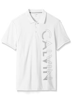 Calvin Klein Men's Short Sleeve Large Logo Pique Polo Shirt