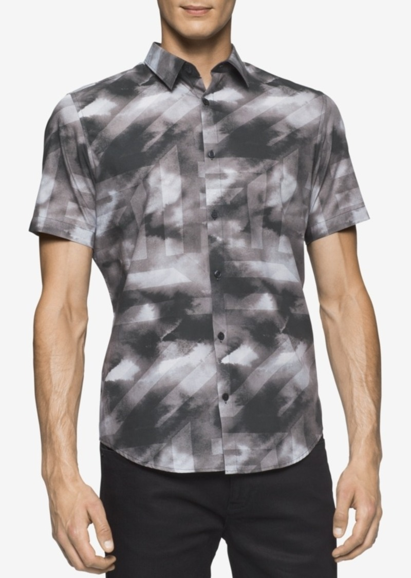 Calvin Klein Men's Short-Sleeve Micro Square Shirt