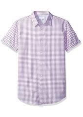 Calvin Klein Men's Short Sleeve Micro Window Button Down Shirt