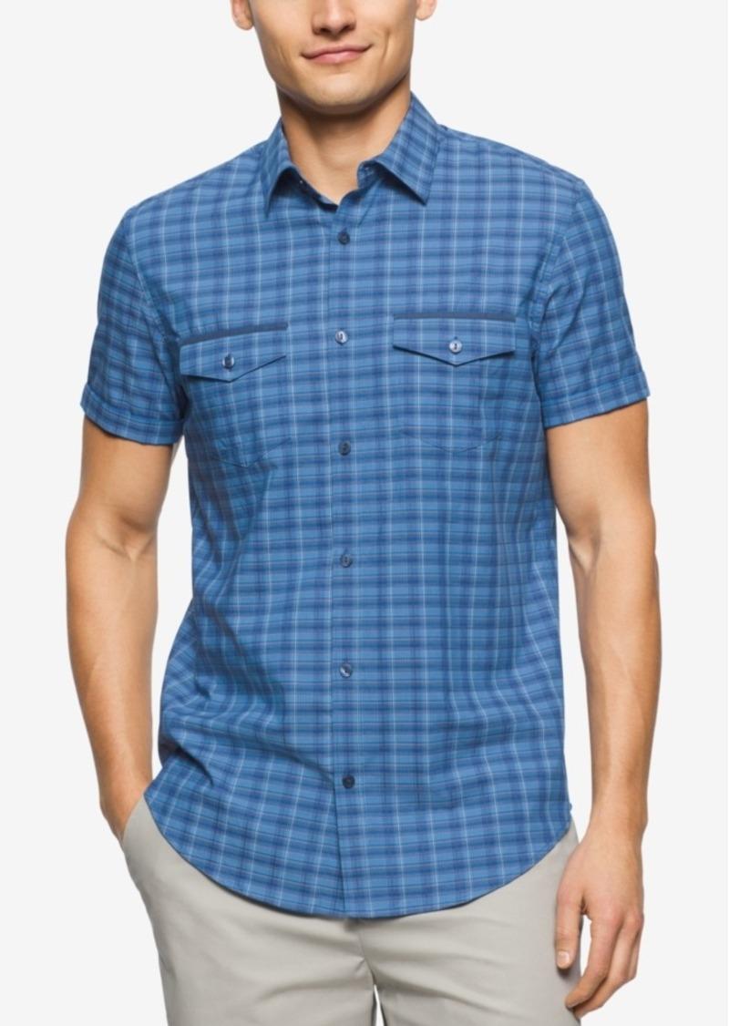 Calvin Klein Men's Short Sleeve Mini Heather Check Shirt