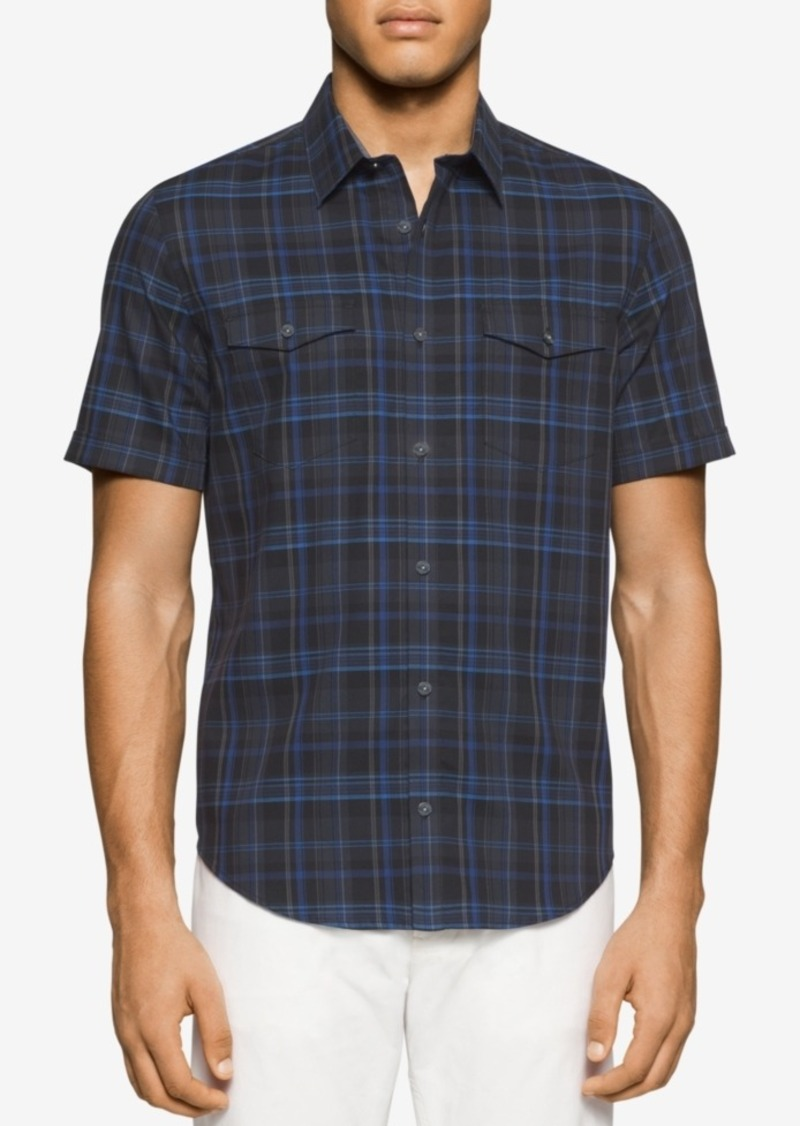 Calvin Klein Men's Short-Sleeve Plaid Pocket Shirt