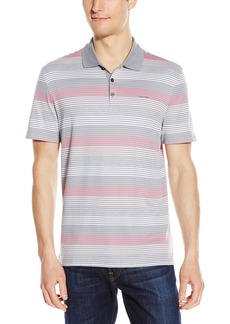 Calvin Klein Men's Short Sleeve Slub Interlock Polo in an Auto Stripe