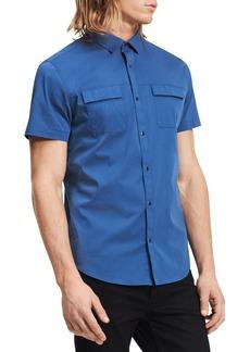 Calvin Klein Men's Short Sleeve Stretch Poplin Military Shirt  2X-Large