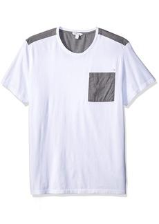 Calvin Klein Men's Short Sleeve T-Shirt Mixed Media Pocket Crew Neck  M