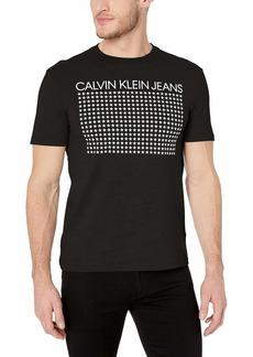 Calvin Klein Men's Short Sleeve Texture Ck Logo Print Crew Neck T-Shirt