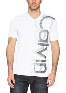 Calvin Klein Men's Short Sleeve Vneck Vertical Logo T-Shirt  L