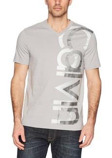 Calvin Klein Men's Short Sleeve Vneck Vertical Logo T-Shirt  XL