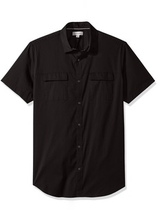 Calvin Klein Men's Short Sleeve Woven Button Down Shirt  2X-Large