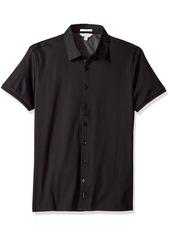 Calvin Klein Men's Short Sleeve Woven Button Down Shirt Black Logo tag