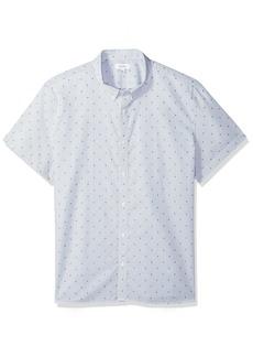 Calvin Klein Men's Short Sleeve Woven Button Down Shirt Clear Sky dot XL