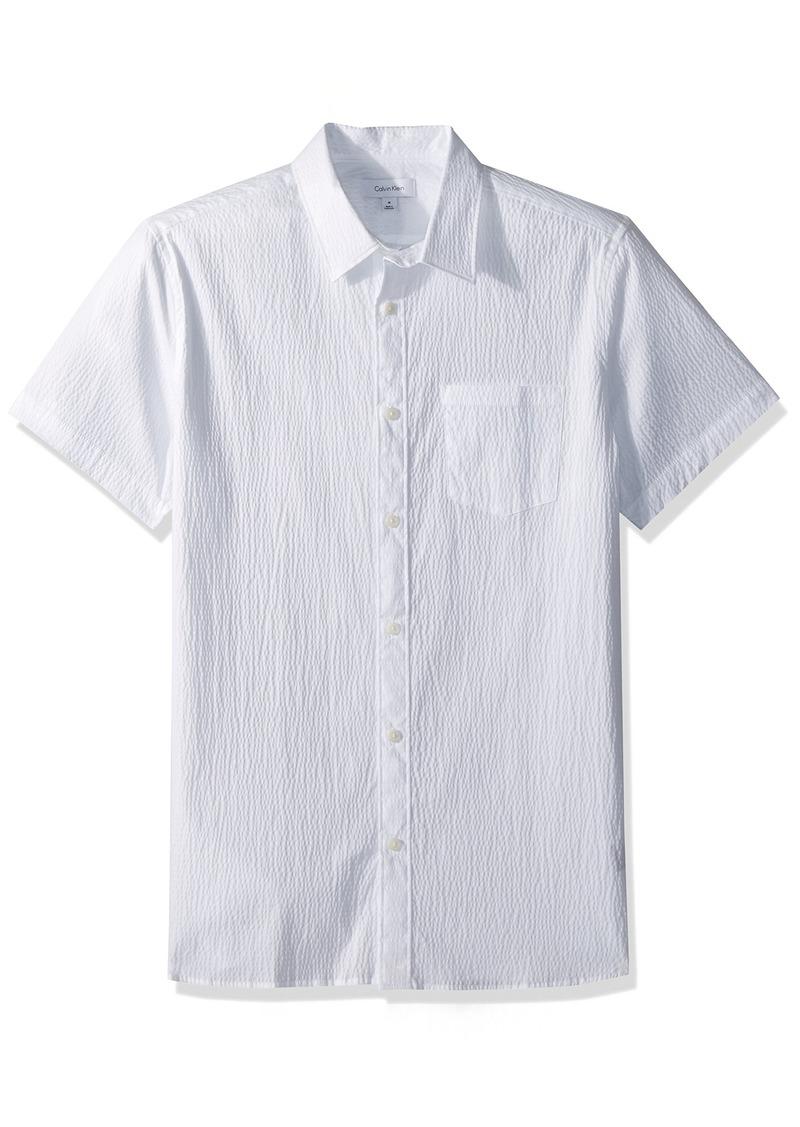 Calvin Klein Men's Short Sleeve Woven Button Down Shirt  S
