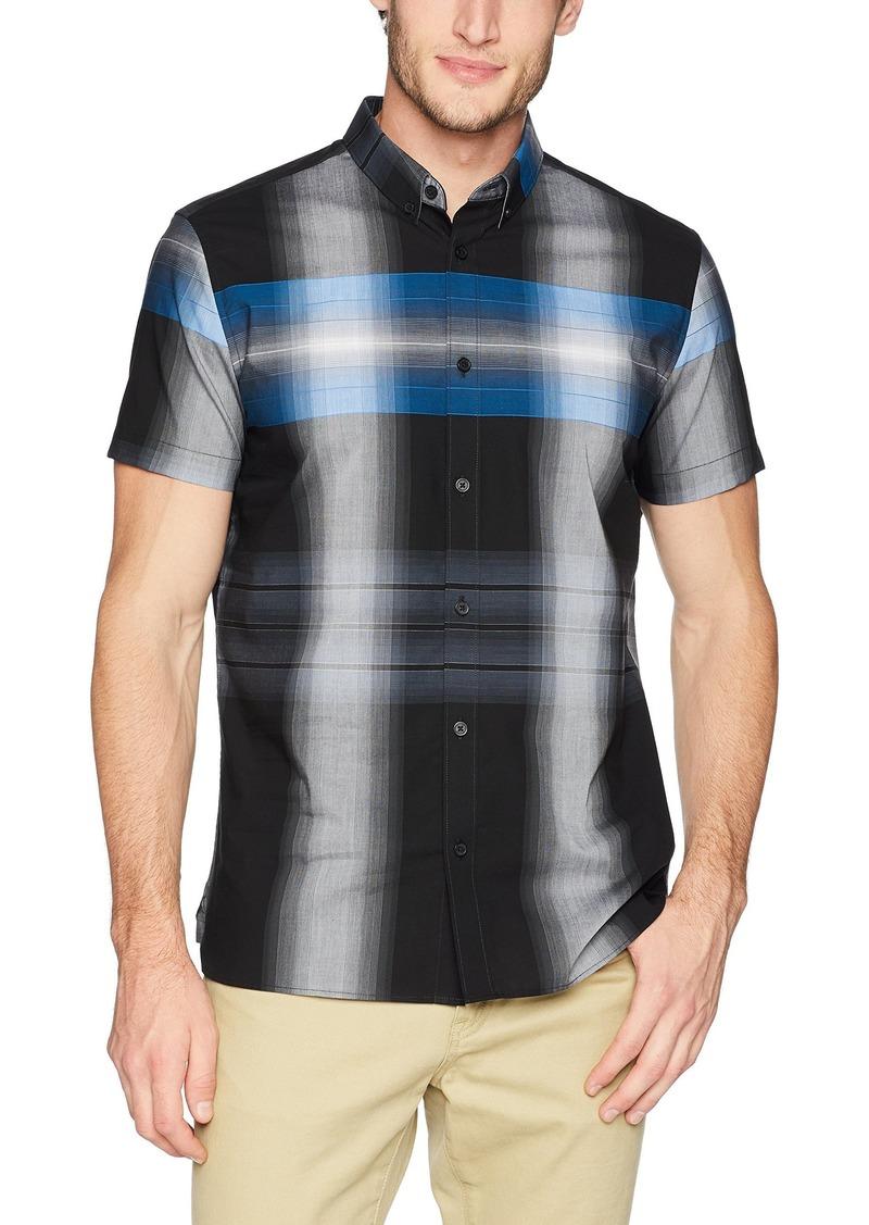 Calvin Klein Men's Short Sleeve Woven Button Down Shirt Black Plaid XL