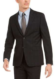 Calvin Klein Men's Skinny-Fit Infinite Stretch Black Plaid Suit Separate Jacket