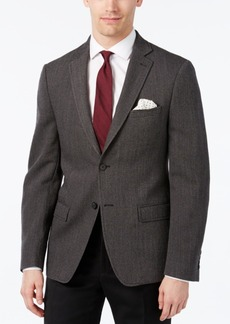 Calvin Klein Men's Slim-Fit Black and Gray Herringbone Sport Coat