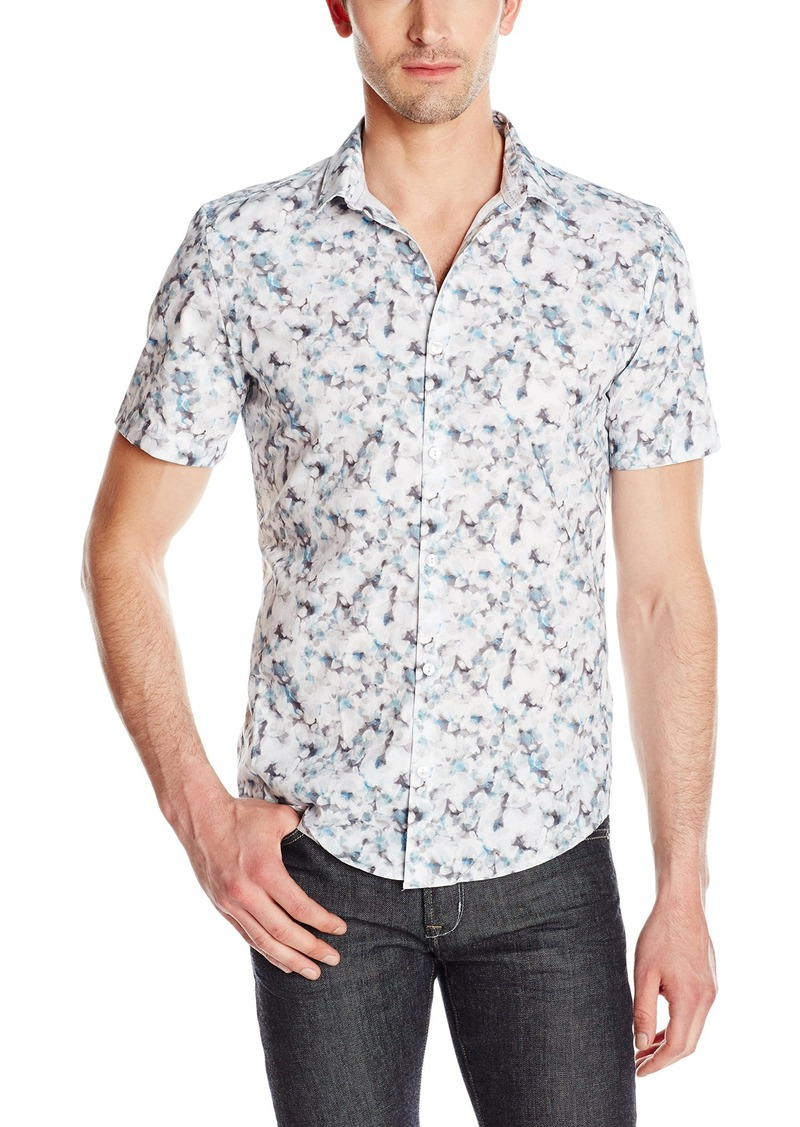 Calvin Klein Men's Slim Fit Blurred Flower Print Short Sleeve Button Down Shirt