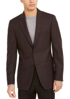 Calvin Klein Men's Slim-Fit Burgundy Windowpane Plaid Sport Coat
