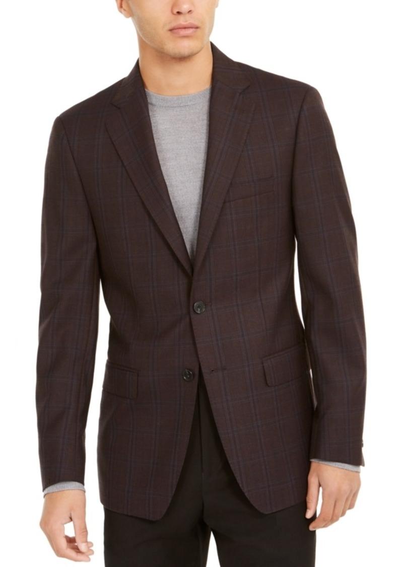 Calvin Klein Men's Slim-Fit Burgundy Windowpane Plaid Sport Coat