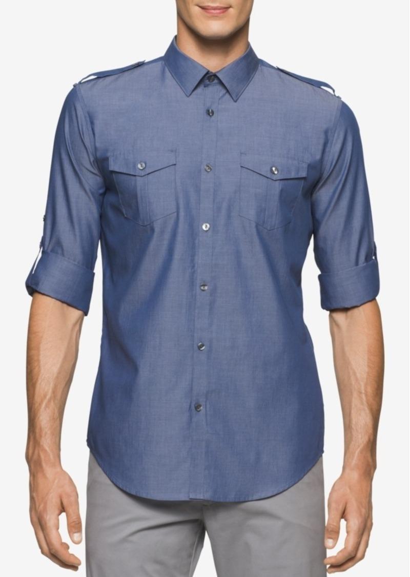 Calvin Klein Men's Slim-Fit Long-Sleeve Chambray Shirt