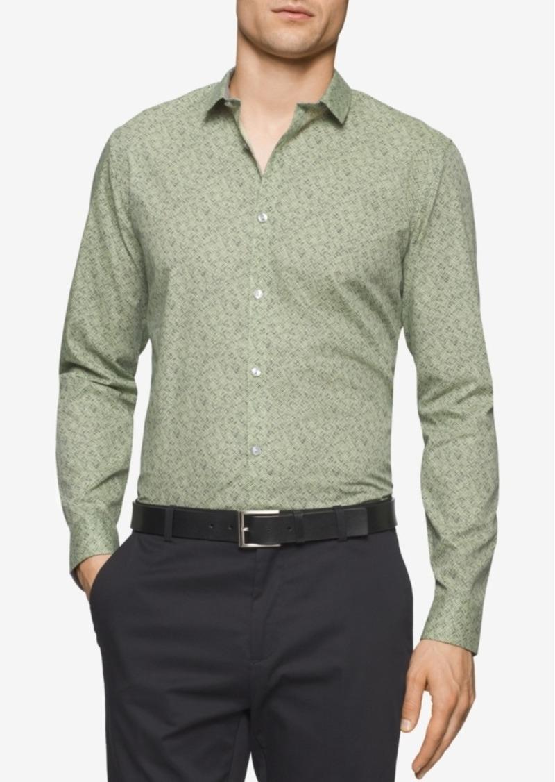 Calvin Klein Men's Slim-Fit Long-Sleeve Cross Hatch Print Shirt