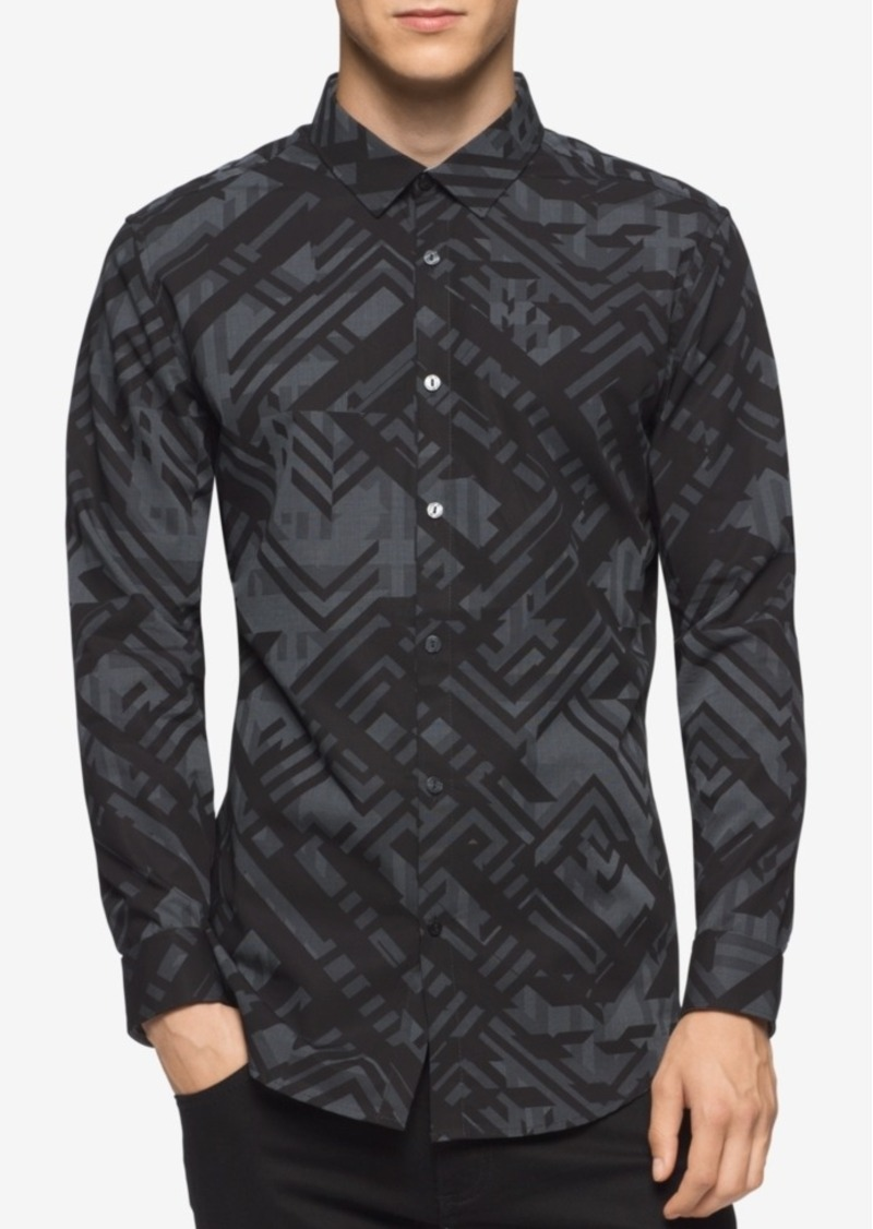Calvin Klein Men's Slim-Fit Long-Sleeve Geometric Camo-Print Shirt