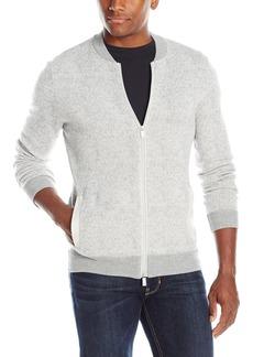 Calvin Klein Men's Slim Fit Merino Textured Full Zip Baseball Sweater
