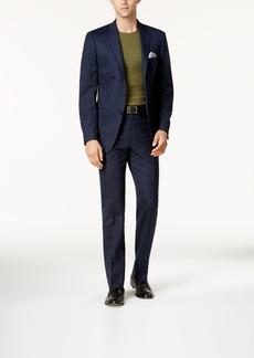 Calvin Klein Men's Slim-Fit Navy & Light Blue Windowpane Suit