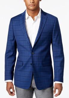 Calvin Klein Men's Slim-Fit New Blue Plaid Sport Coat