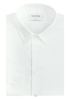 "Calvin Klein Men's Slim Fit Non-Iron Herringbone Point Collar Dress Shirt  16"" Neck 34""-35"" Sleeve"