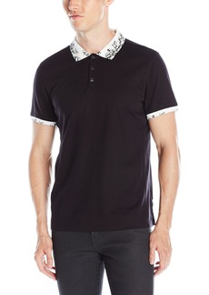 Calvin Klein Men's Slim Fit Printed Collar Short Sleeve Polo Shirt