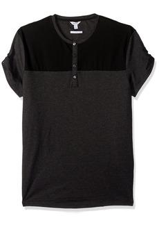 Calvin Klein Men's Slim Fit Short Sleeve Fabric Blocked Henley Shirt